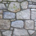 Granite wall with mortar joint