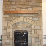 Stone fireplace and hearth for stove